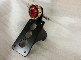 NEW! Vintage Drilled BRASS Tail light & vertical plate bracket