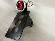 NEW! Vintage Drilled Aluminum Tail light &Vertical Plate Bracket